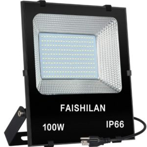 FAISHILAN 100W LED Flood Light Outdoor IP66 Waterproof with US-3 Plug 10000Lm for Garage,Garden,Yard-min