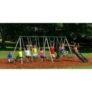 Flexible Flyer Deluxe Trapeze Swing Big Adventure Metal Swing Set, Steel Frame with HDPE Plastics-min